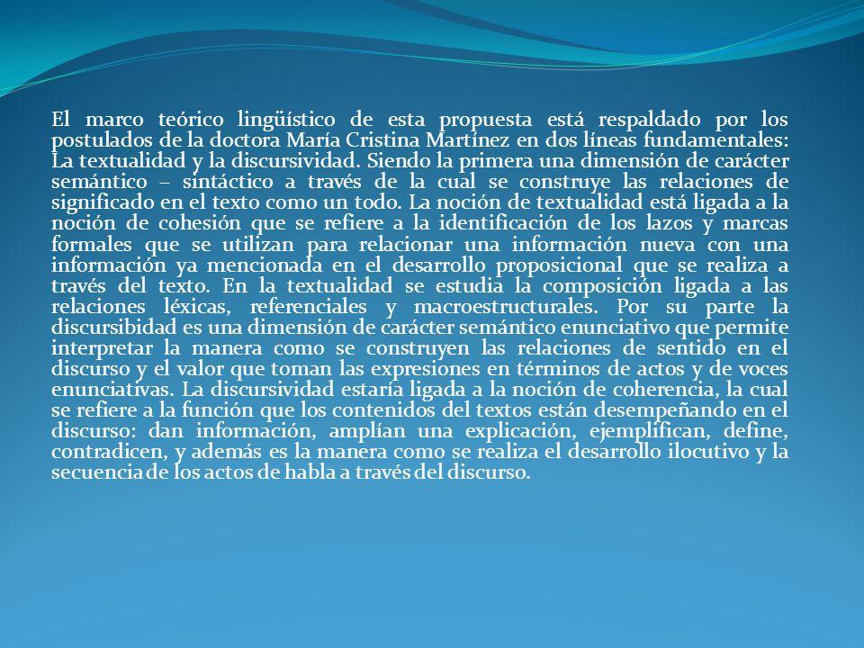 El marco teórico lingüístico de esta propuesta está respaldado por los postulados de la doctora María Cristina Martínez en dos líneas fundamentales: L