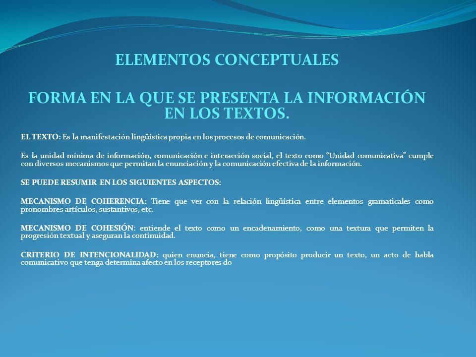ELEMENTOS CONCEPTUALES FORMA EN LA QUE SE PRESENTA LA INFORMACIÓN EN LOS TEXTOS. EL TEXTO: Es la manifestación lingüística propia en los procesos de c
