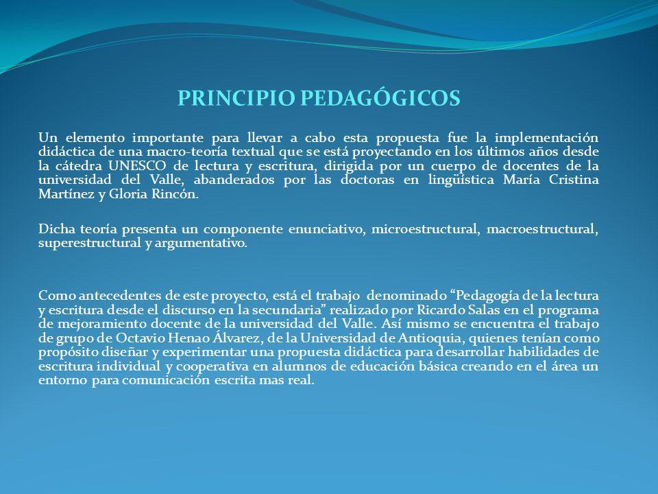 PRINCIPIO PEDAGÓGICOS Un elemento importante para llevar a cabo esta propuesta fue la implementación didáctica de una macro-teoría textual que se está
