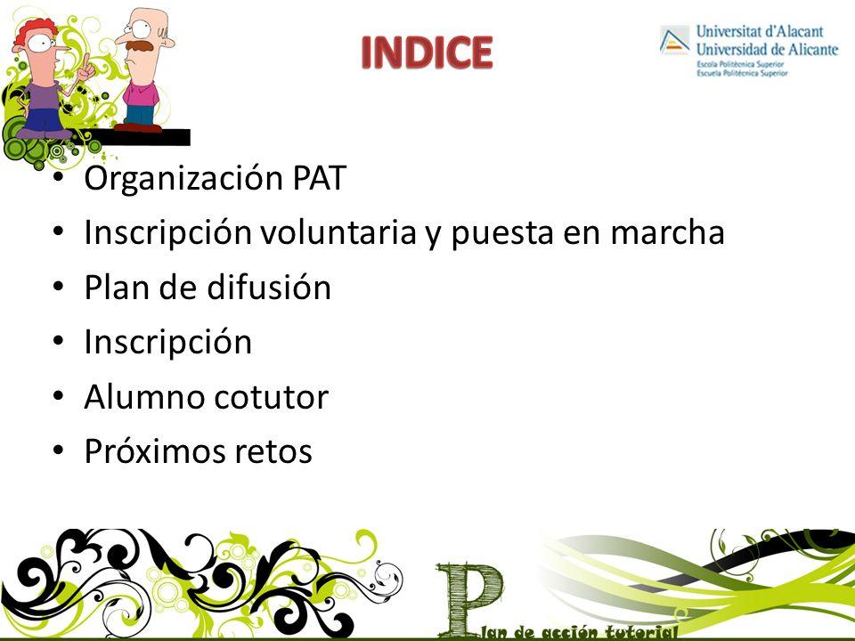 Organización PAT Inscripción voluntaria y puesta en marcha Plan de difusión Inscripción Alumno cotutor Próximos retos