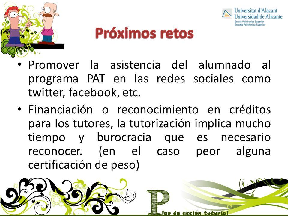 Promover la asistencia del alumnado al programa PAT en las redes sociales como twitter, facebook, etc.