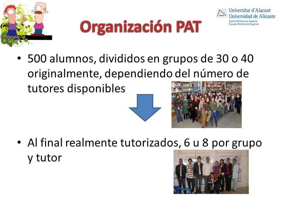 500 alumnos, divididos en grupos de 30 o 40 originalmente, dependiendo del número de tutores disponibles Al final realmente tutorizados, 6 u 8 por grupo y tutor