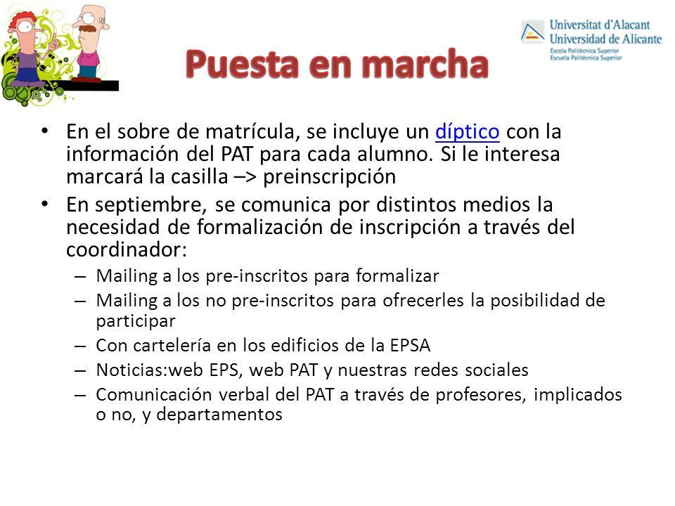 En el sobre de matrícula, se incluye un díptico con la información del PAT para cada alumno.
