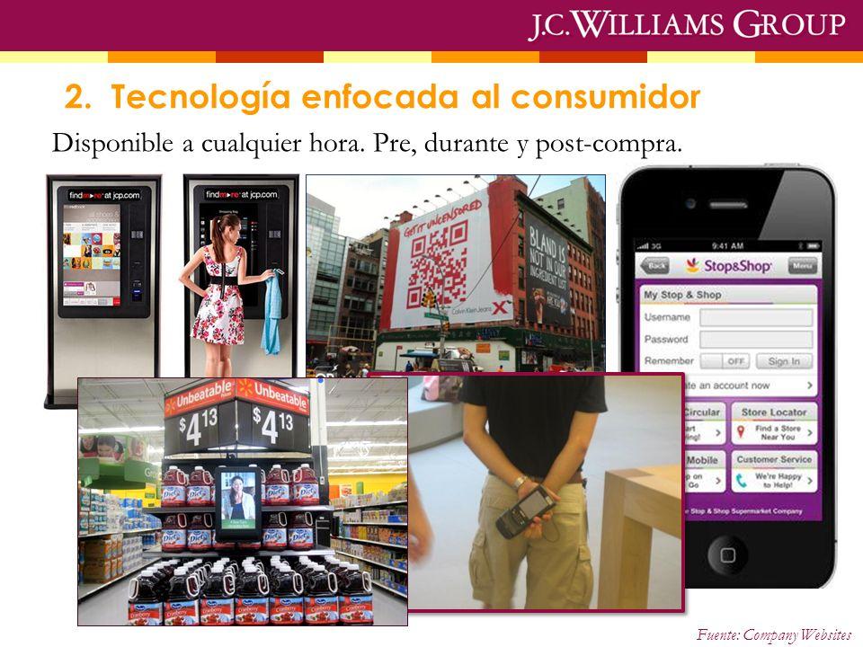 Fuente: Company Websites 2. Tecnología enfocada al consumidor Disponible a cualquier hora. Pre, durante y post-compra.