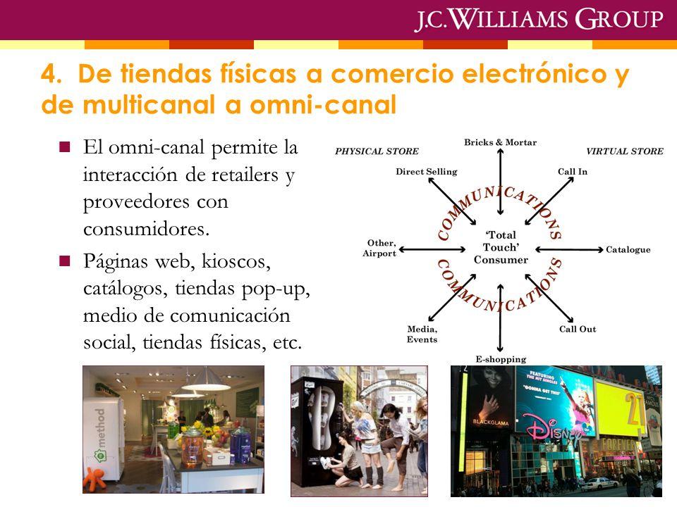 4. De tiendas físicas a comercio electrónico y de multicanal a omni-canal El omni-canal permite la interacción de retailers y proveedores con consumid