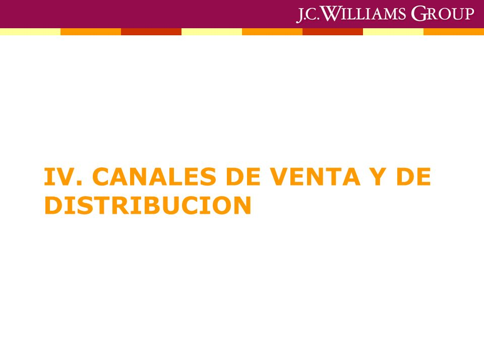 IV. CANALES DE VENTA Y DE DISTRIBUCION