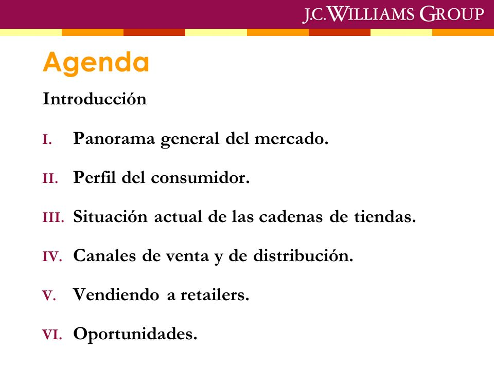 Agenda Introducción I.Panorama general del mercado.