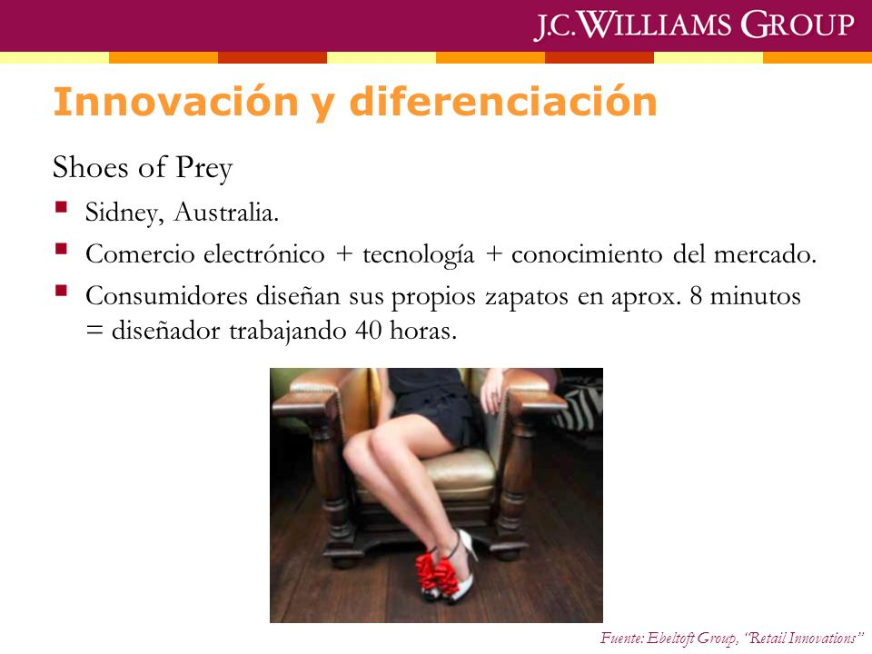 Innovación y diferenciación Shoes of Prey Sidney, Australia. Comercio electrónico + tecnología + conocimiento del mercado. Consumidores diseñan sus pr