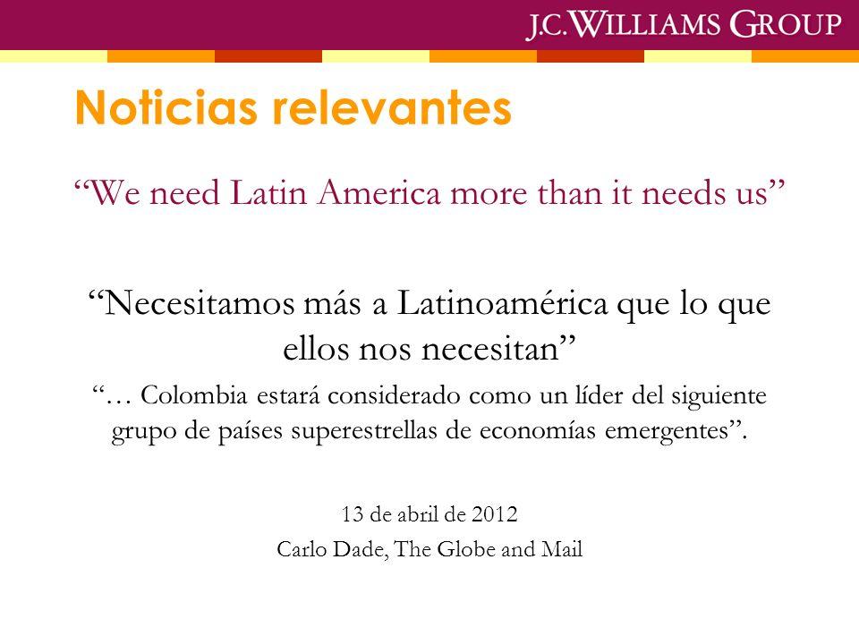 Noticias relevantes We need Latin America more than it needs us Necesitamos más a Latinoamérica que lo que ellos nos necesitan … Colombia estará considerado como un líder del siguiente grupo de países superestrellas de economías emergentes.