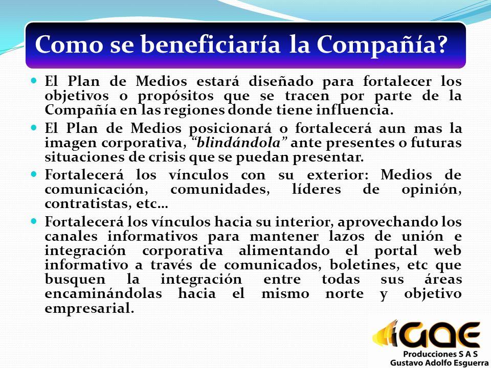 Como se beneficiaría la Compañía? El Plan de Medios estará diseñado para fortalecer los objetivos o propósitos que se tracen por parte de la Compañía