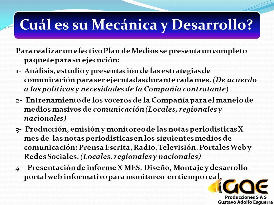 Cuál es su Mecánica y Desarrollo? Para realizar un efectivo Plan de Medios se presenta un completo paquete para su ejecución: 1- Análisis, estudio y p