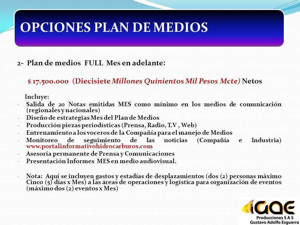 OPCIONES PLAN DE MEDIOS 2- Plan de medios FULL Mes en adelante: $ 17.500.000 (Diecisiete Millones Quinientos Mil Pesos Mcte) Netos Incluye: - Salida d