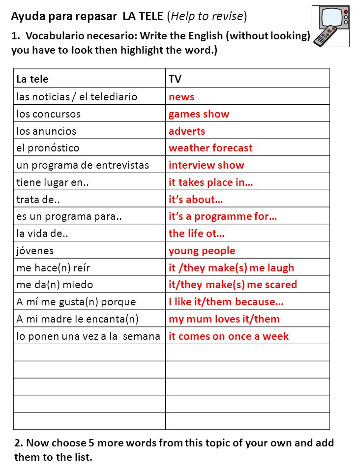 Ayuda para repasar LA TELE (Help to revise) 1. Vocabulario necesario: Write the English (without looking) – if you have to look then highlight the wor