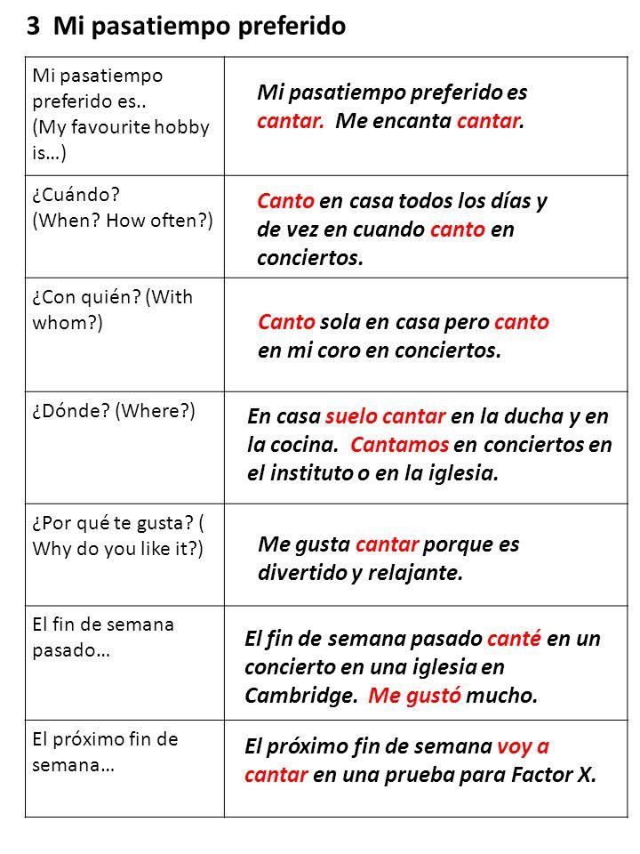 Mi pasatiempo preferido es.. (My favourite hobby is…) ¿Cuándo? (When? How often?) ¿Con quién? (With whom?) ¿Dónde? (Where?) ¿Por qué te gusta? ( Why d