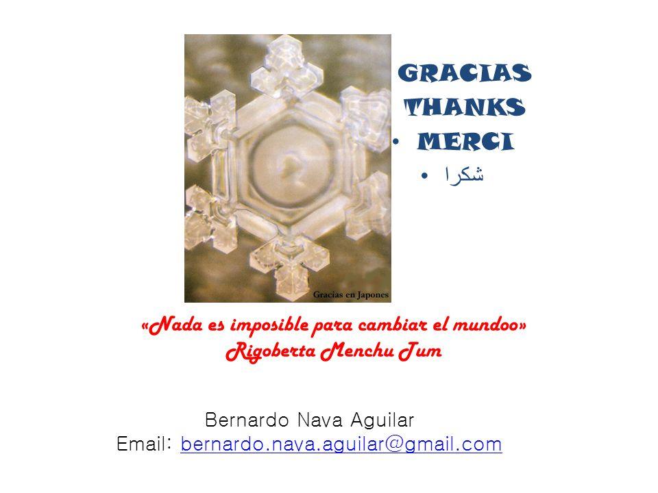 GRACIAS THANKS MERCI شكرا Bernardo Nava Aguilar Email: bernardo.nava.aguilar@gmail.combernardo.nava.aguilar@gmail.com «Nada es imposible para cambiar