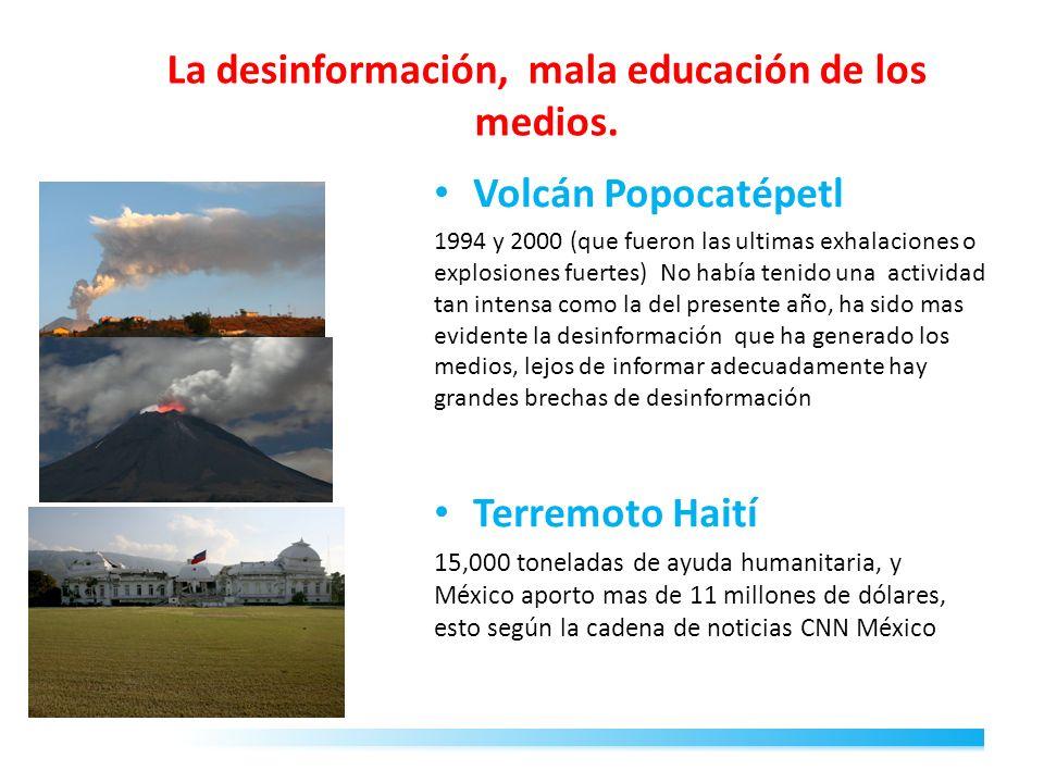 La desinformación, mala educación de los medios. Volcán Popocatépetl 1994 y 2000 (que fueron las ultimas exhalaciones o explosiones fuertes) No había