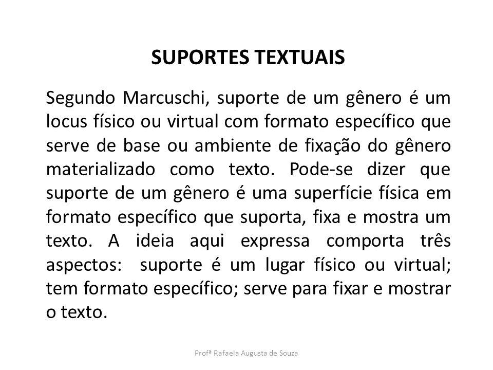 SUPORTES TEXTUAIS Segundo Marcuschi, suporte de um gênero é um locus físico ou virtual com formato específico que serve de base ou ambiente de fixação