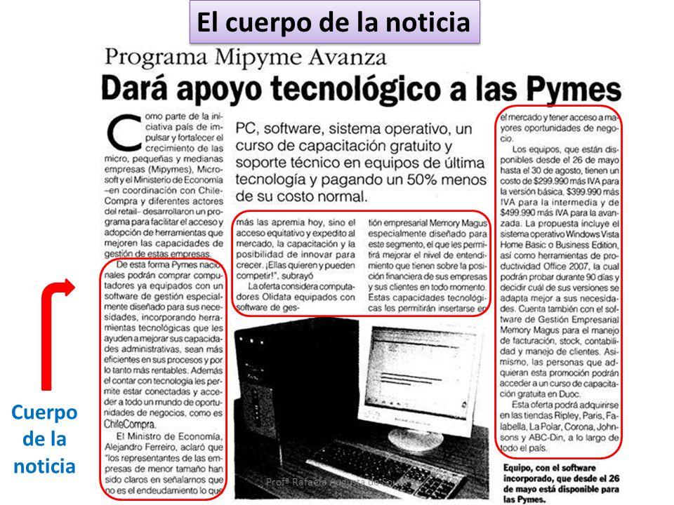 Cuerpo de la noticia El cuerpo de la noticia Profª Rafaela Augusta de Souza