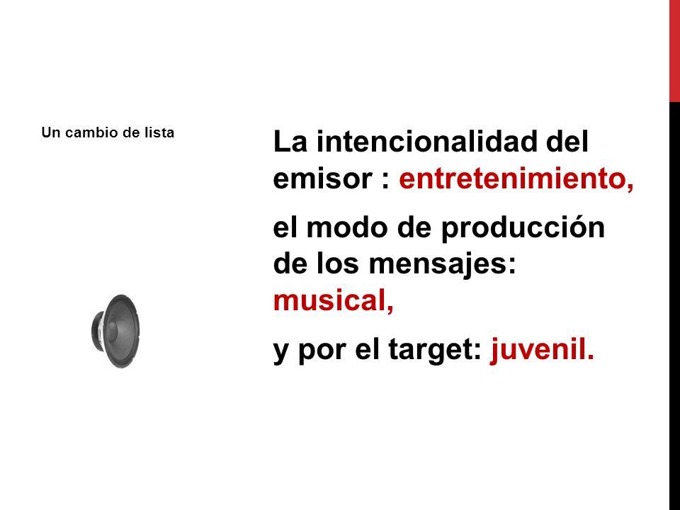 La intencionalidad del emisor : entretenimiento, el modo de producción de los mensajes: musical, y por el target: juvenil. Un cambio de lista