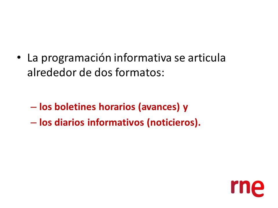 La programación informativa se articula alrededor de dos formatos: – los boletines horarios (avances) y – los diarios informativos (noticieros).