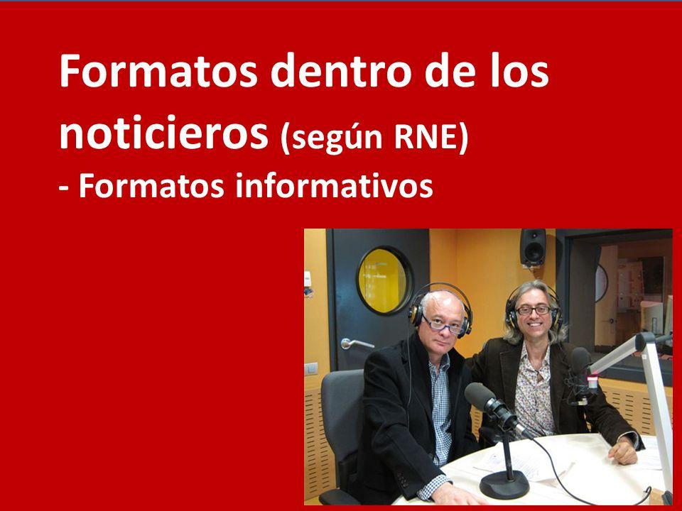 Formatos dentro de los noticieros (según RNE) - Formatos informativos