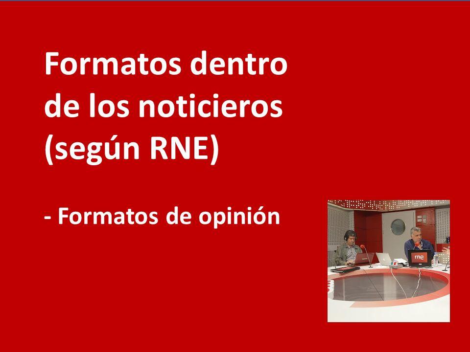 Formatos dentro de los noticieros (según RNE) - Formatos de opinión