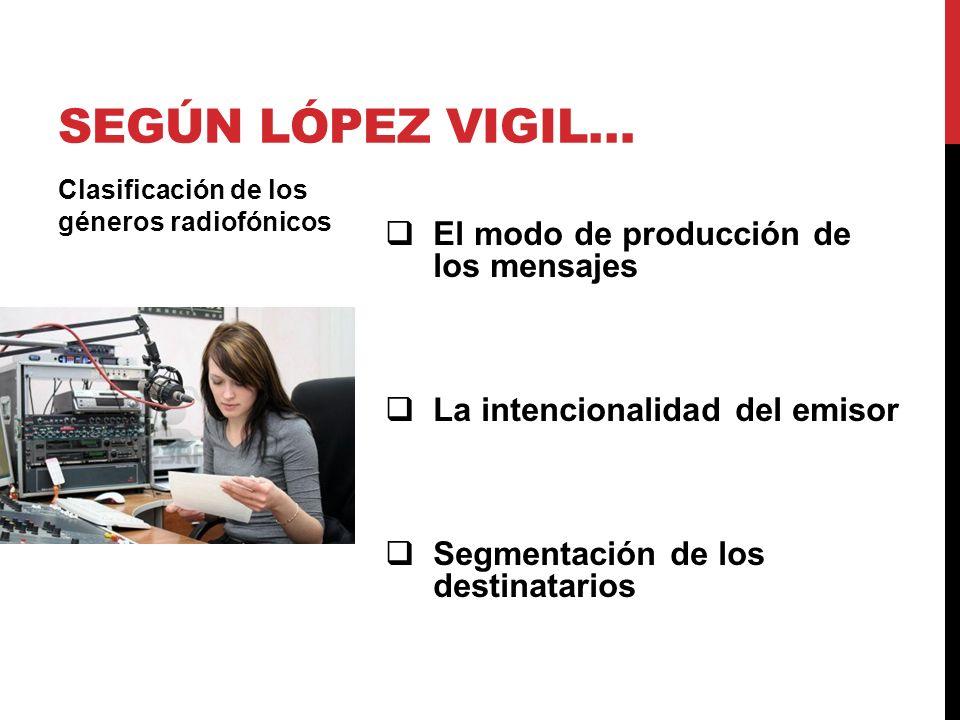 El modo de producción de los mensajes La intencionalidad del emisor Segmentación de los destinatarios Clasificación de los géneros radiofónicos SEGÚN