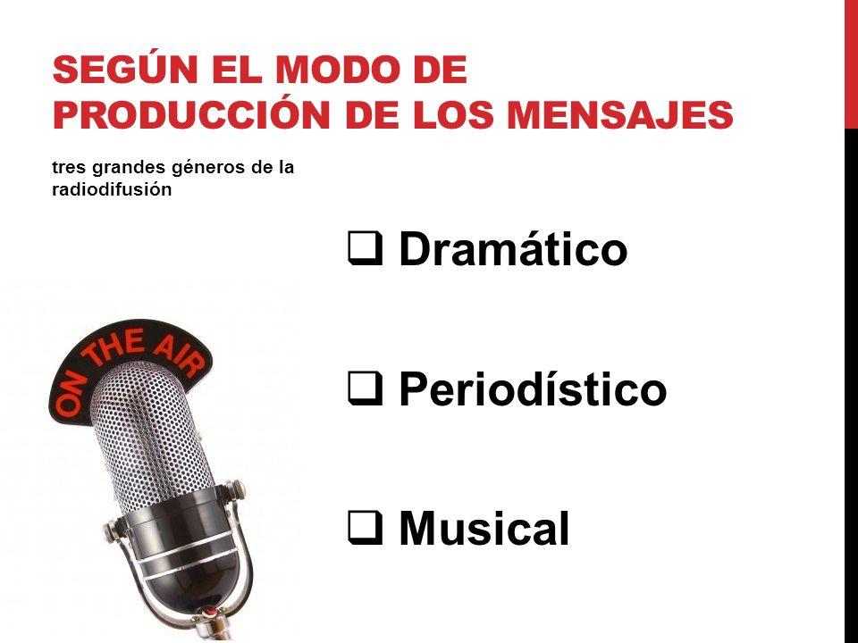 Dramático Periodístico Musical tres grandes géneros de la radiodifusión SEGÚN EL MODO DE PRODUCCIÓN DE LOS MENSAJES