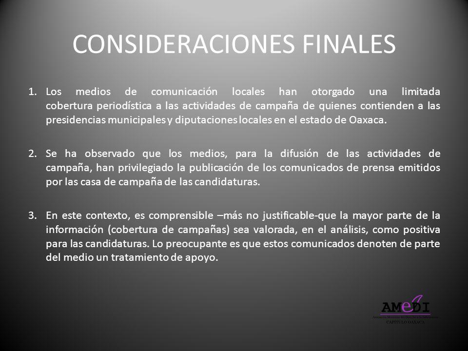 CONSIDERACIONES FINALES 1.Los medios de comunicación locales han otorgado una limitada cobertura periodística a las actividades de campaña de quienes