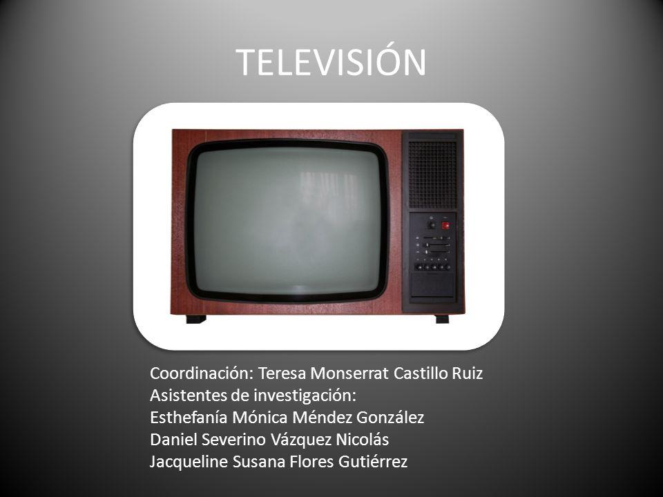 TELEVISIÓN Coordinación: Teresa Monserrat Castillo Ruiz Asistentes de investigación: Esthefanía Mónica Méndez González Daniel Severino Vázquez Nicolás