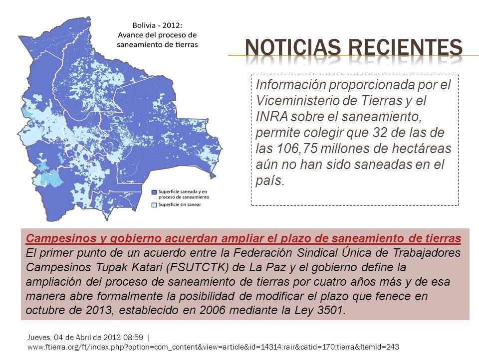 Información proporcionada por el Viceministerio de Tierras y el INRA sobre el saneamiento, permite colegir que 32 de las de las 106,75 millones de hectáreas aún no han sido saneadas en el país.