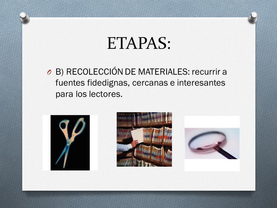 ETAPAS: O B) RECOLECCIÓN DE MATERIALES: recurrir a fuentes fidedignas, cercanas e interesantes para los lectores.
