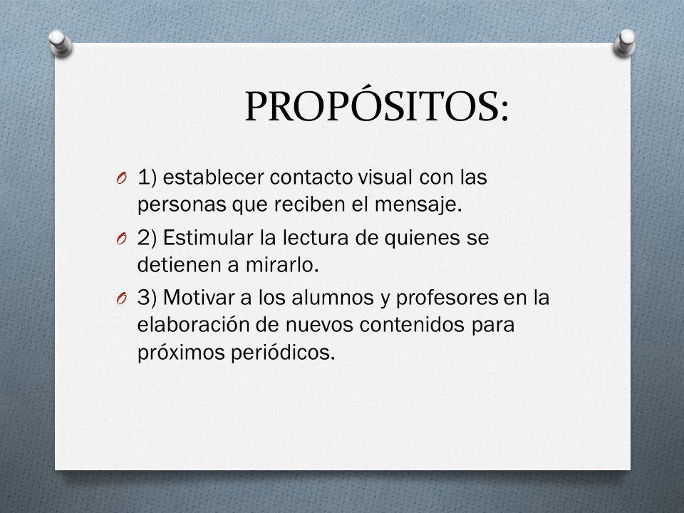 PROPÓSITOS: O 1) establecer contacto visual con las personas que reciben el mensaje.