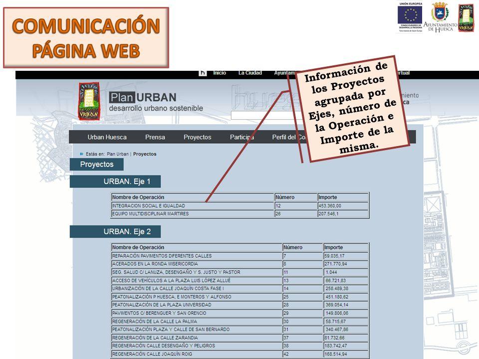Información de los Proyectos agrupada por Ejes, número de la Operación e Importe de la misma.