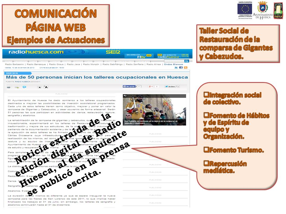 Noticia extraída de la edición digital de Radio Huesca, al día siguiente se publicó en la prensa escrita.