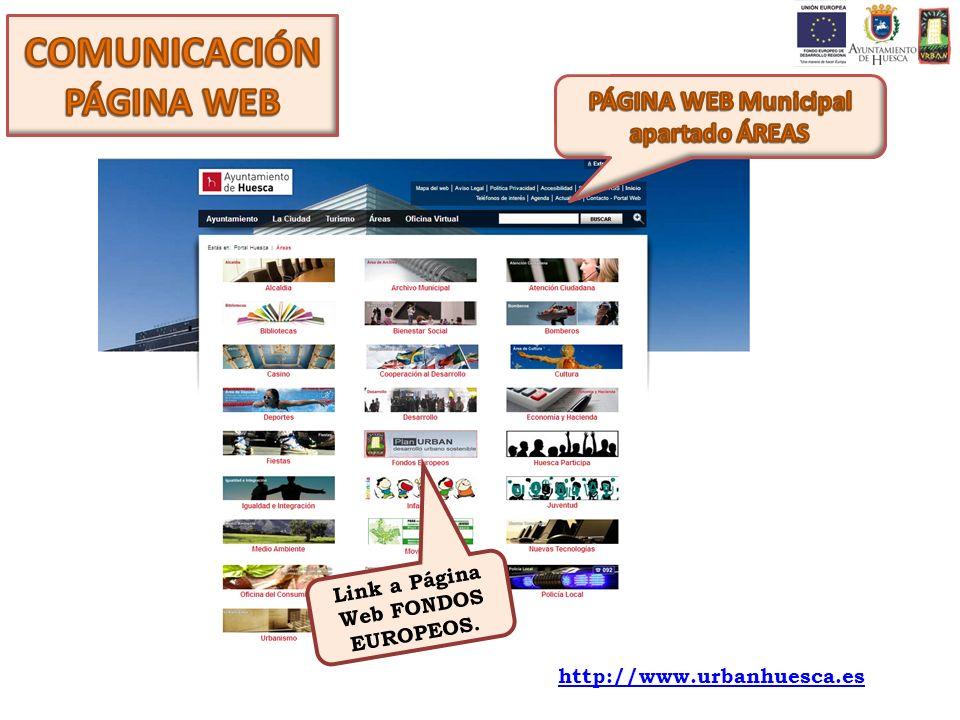Link a Página Web FONDOS EUROPEOS. http://www.urbanhuesca.es