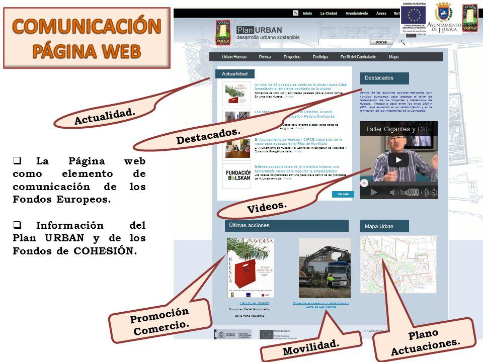 La Página web como elemento de comunicación de los Fondos Europeos. Información del Plan URBAN y de los Fondos de COHESIÓN. Actualidad. Destacados. Vi
