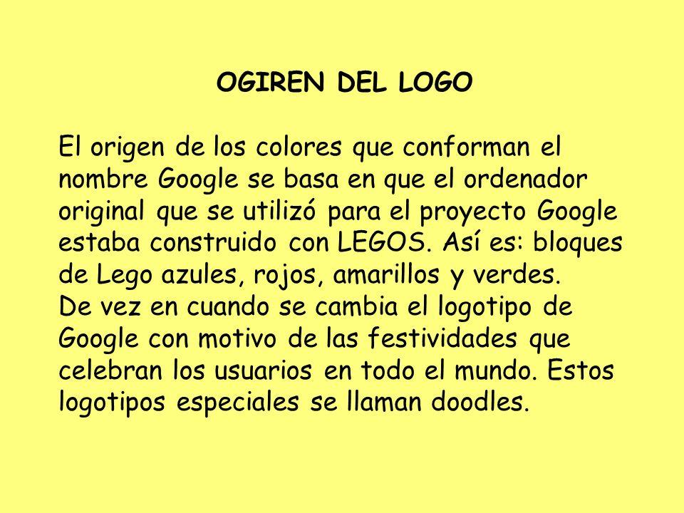 OGIREN DEL LOGO El origen de los colores que conforman el nombre Google se basa en que el ordenador original que se utilizó para el proyecto Google es