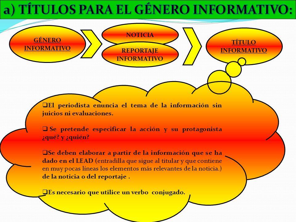 GÉNERO INFORMATIVO NOTICIA REPORTAJE INFORMATIVO TÍTULO INFORMATIVO El periodista enuncia el tema de la información sin juicios ni evaluaciones.