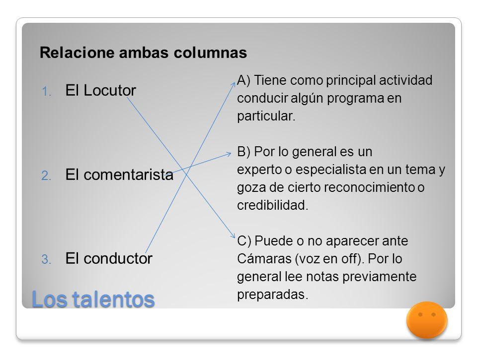 Los talentos Relacione ambas columnas 1.El Locutor 2.