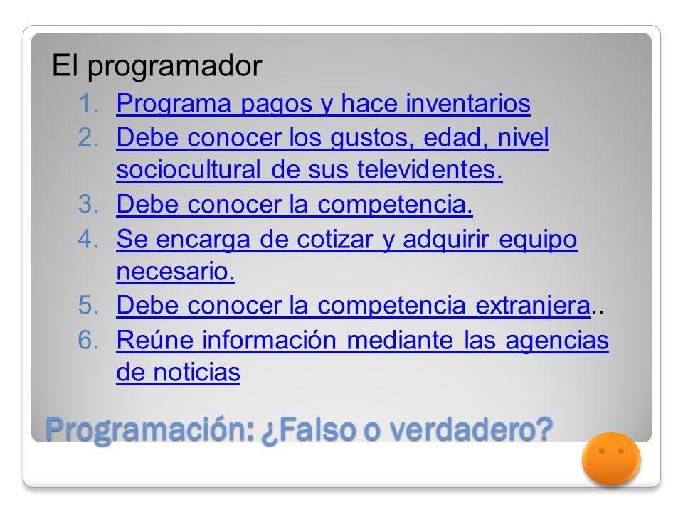 Programación: ¿Falso o verdadero.