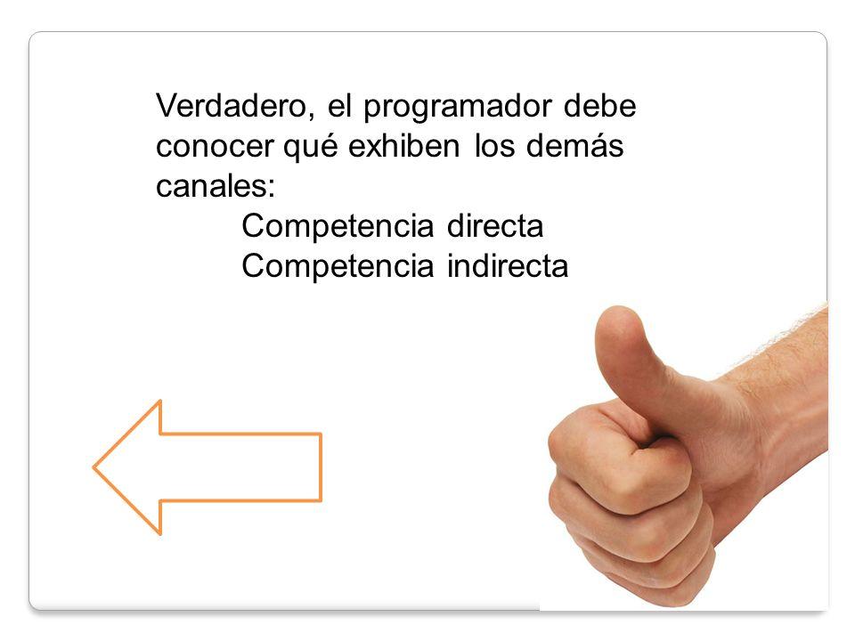 Verdadero, el programador debe conocer qué exhiben los demás canales: Competencia directa Competencia indirecta