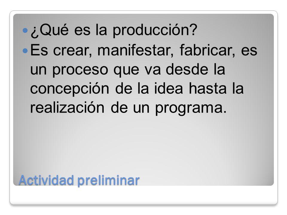 Actividad preliminar ¿Qué es la producción.