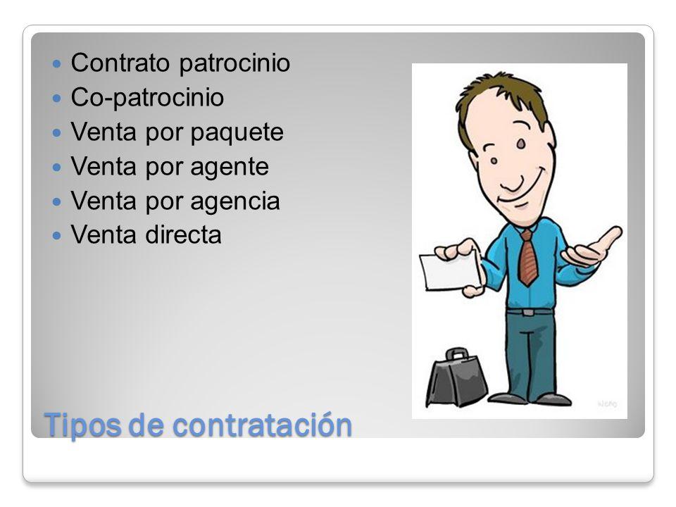 Tipos de contratación Contrato patrocinio Co-patrocinio Venta por paquete Venta por agente Venta por agencia Venta directa
