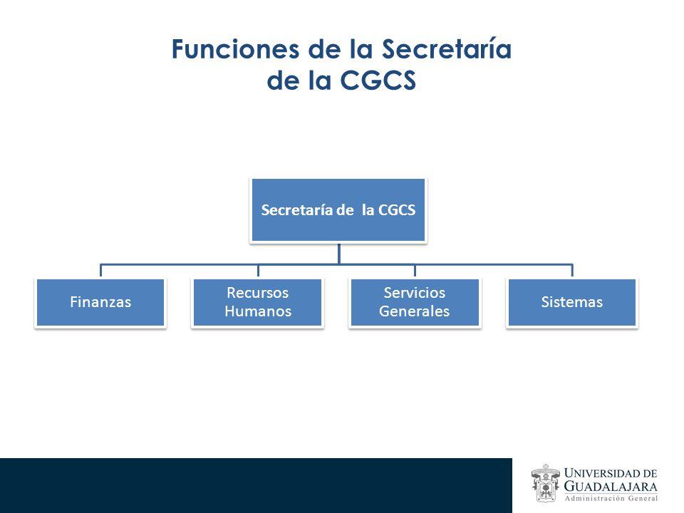 Funciones de la Secretaría de la CGCS Secretaría de la CGCS Finanzas Recursos Humanos Servicios Generales Sistemas