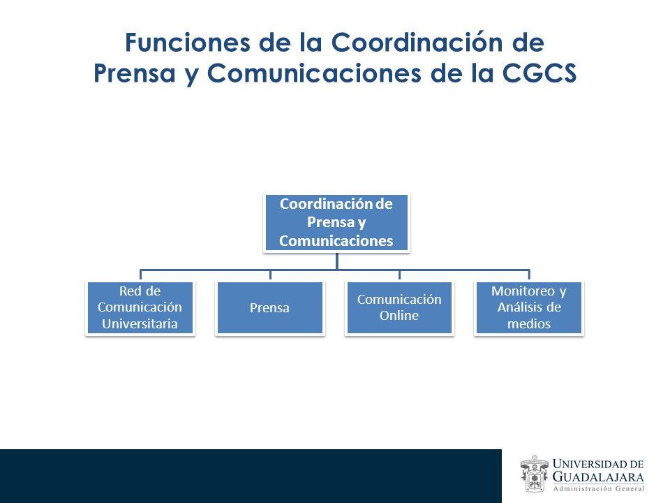 Funciones de la Coordinación de Prensa y Comunicaciones de la CGCS Coordinación de Prensa y Comunicaciones Red de Comunicación Universitaria Prensa Comunicación Online Monitoreo y Análisis de medios