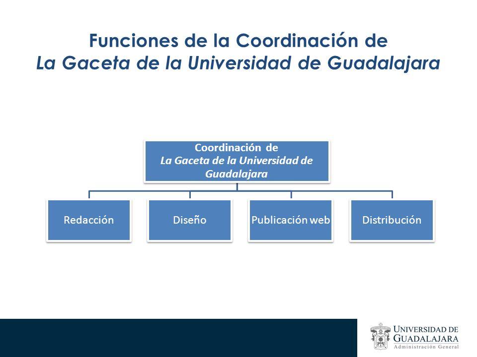 Funciones de la Coordinación de La Gaceta de la Universidad de Guadalajara Coordinación de La Gaceta de la Universidad de Guadalajara RedacciónDiseñoPublicación webDistribución