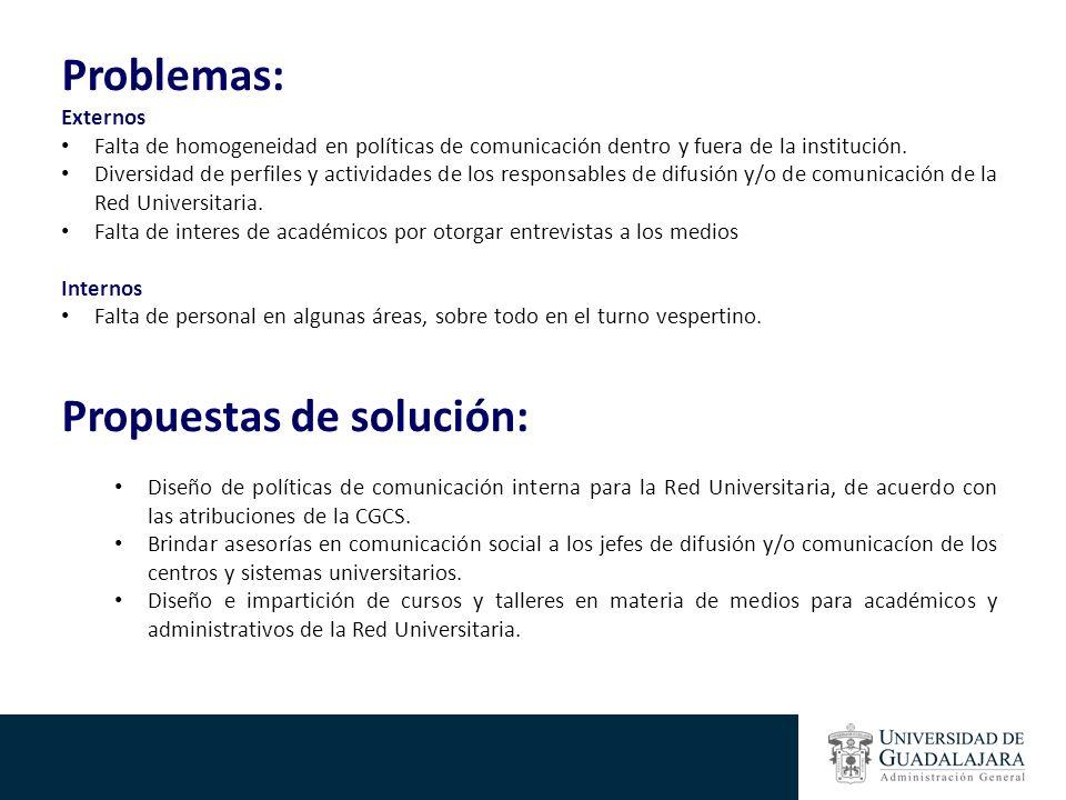 Problemas: Externos Falta de homogeneidad en políticas de comunicación dentro y fuera de la institución. Diversidad de perfiles y actividades de los r