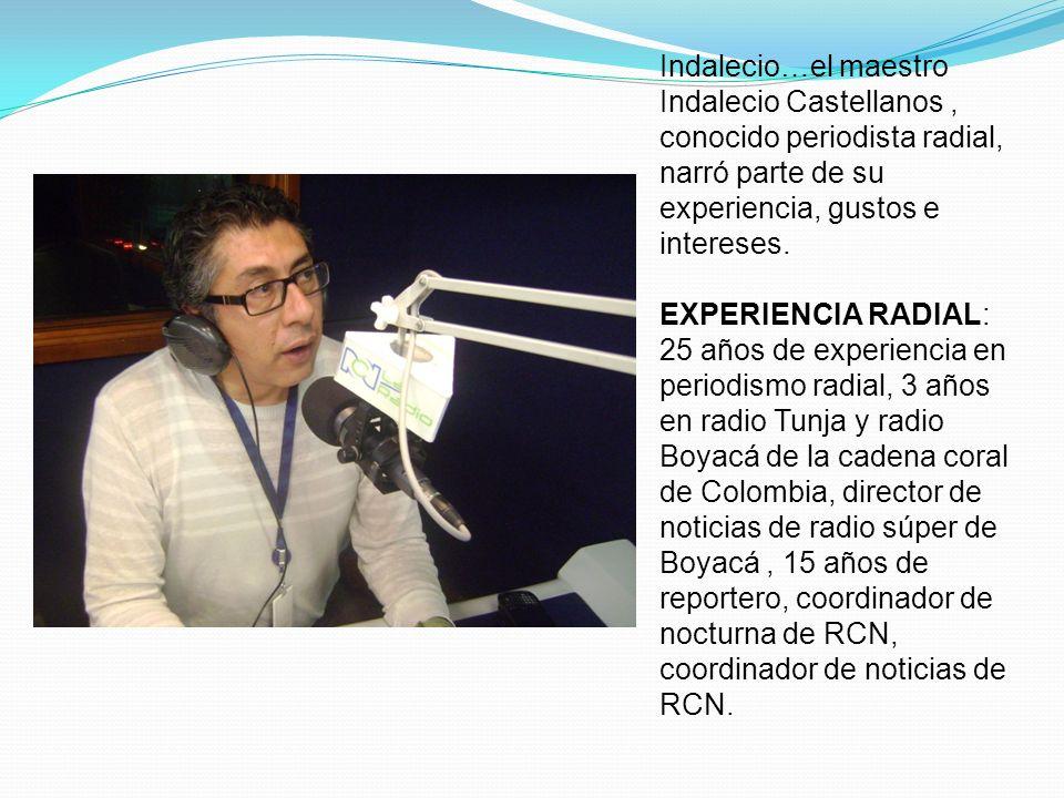 Indalecio…el maestro Indalecio Castellanos, conocido periodista radial, narró parte de su experiencia, gustos e intereses. EXPERIENCIA RADIAL: 25 años