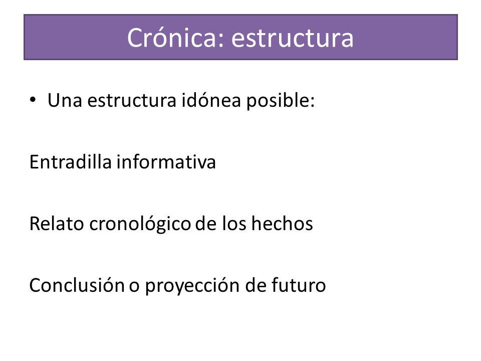 Crónica: estructura Una estructura idónea posible: Entradilla informativa Relato cronológico de los hechos Conclusión o proyección de futuro